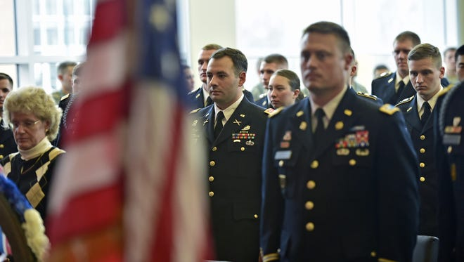 ROTC cadets, faculty and veterans attend a Veterans Day ceremony in November at Shippensburg University.