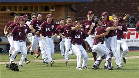 Mississippi State players celebrate their 6-5 win over Virginia after the NCAA super regional college baseball game in Charlottesville, Va., Monday, June 10, 2013. Mississippi State advances to the College World Series.