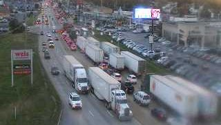 Traffic is backed up in the eastbound lanes of Route 30 following a crash in the area of Toronita Street Wednesday morning.