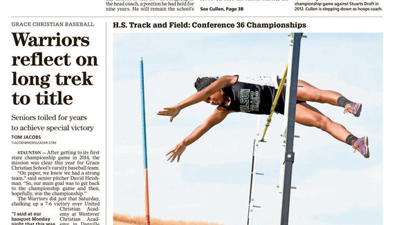 The News Leader print sports front