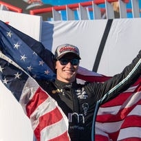 Josef Newgarden celebrates winning the IndyCar Series championship after the GoPro Grand Prix of Sonoma at Sonoma Raceway on Sept. 17, 2017.