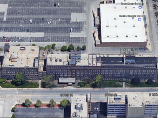 aerial photo of the former Allis-Chalmers building