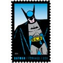 Each stamp in the bottom row highlights Batman as first envisioned by creator Bob Kane during the Golden Age of Comics. The Super Hero's black cape and cowl, and gray suit formed his iconic visual identity.