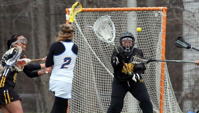 North Brunswick's Tatum Altman (2) recorded her 300th career goal and her 500th career point on Wednesday.