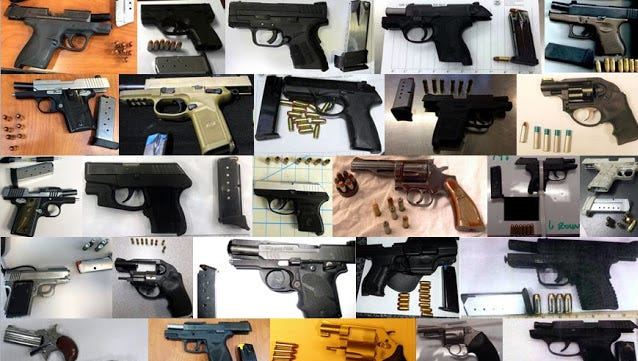 Some of the guns found at airport checkpoints Aug. 5-11, 2016.