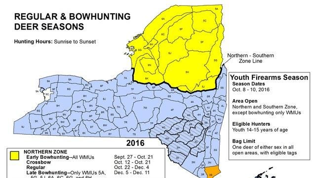 New York bow hunting map.