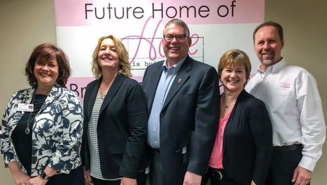 Debra Standridge, North Region President, Ascension Wisconsin stands with Hope is Building co-chairs Cindy Kinsella, Joe Kinsella, Kim Hodgson and Steve Hodgson