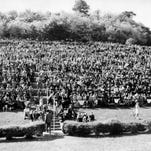 Some of the 20,000 spectators pack together at the finishing line of the sixth running of the Iroquois Steeplechase on May 10, 1947.