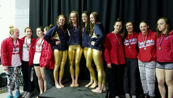 The Roberson girls won the 400-yard freestyle relay at Saturday's 4-A Western Regional swim meet in Charlotte. Swimmers for the Rams were Camille Long, Grace Reeder, Anna Newnam and Kayla Schlitt
