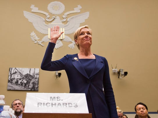 """In this Tuesday, Sept. 29, 2015 photo, Planned Parenthood Federation of America President Cecile Richards is sworn in before testifying at a House Committee on Oversight and Government Reform Hearing on """"Planned Parenthood's Taxpayer Funding,"""" in Washington."""