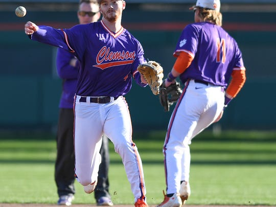 Clemson infielder Grayson Byrd during the Tigers first practice of the season at Doug Kingsmore Stadium on Friday, January 26, 2017.