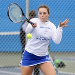 Meredith Braiman of Horseheads returns a shot to Corning's Connie Hou in girls STAC tennis. Horseheads won, 7-0.
