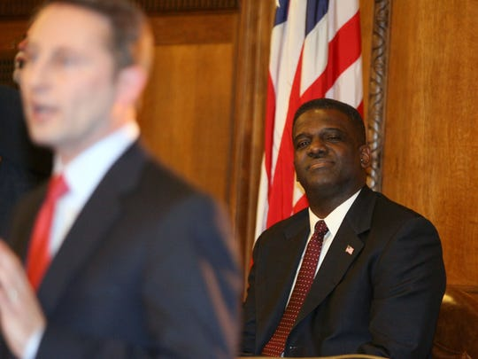 Legislative Chairman Ken Jenkins looks on while Westchester County Executive Rob Astorino delivers his State of the County address at the Michaelian County Office Building in White Plains April 7, 2011.