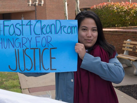 Daniela Velez of UndocuJersey protested outside of Rep. Tom MacArthur's office in Toms River in November. She was part of a group of hunger strikers who called on him to support the Dream Act of 2017 without adding border security or deportation measures.