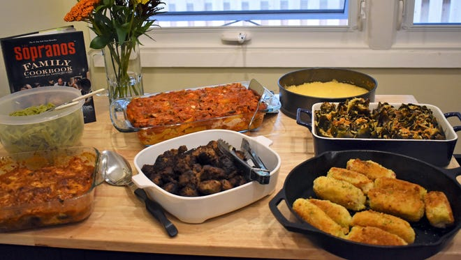 """Eggplant Parmesan (lower left) and potato croquettes (lower right) join other Italian dishes from """"The Sopranos' Family Cookbook."""""""