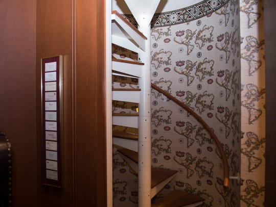 The home features a secret staircase leading to the master bedroom.