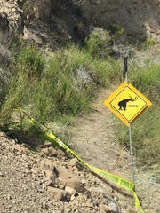 "Researchers posted a ""mammoth crossing"" sign at the excavation site."
