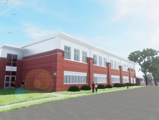 A rendering from the Mount Kisco-based firm KG&D Architects depicting how a second story would be added to William E. Cottle Elementary School based on projects proposed as part of a nearly $10 million bond.