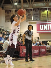UMES's Moengaroa Subritzky shoots for 3 against the Maryland Terp's on Sunday, Decmeber 20th at the William P. Hytche Athletic Center. Megan Raymond Photo