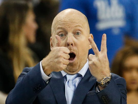 Mick Cronin gestures during a game against Arizona State in February.