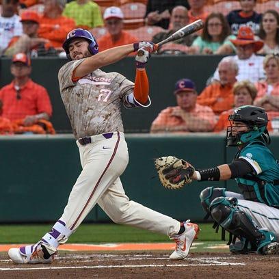 Clemson senior infielder Chris Williams(27) hits a