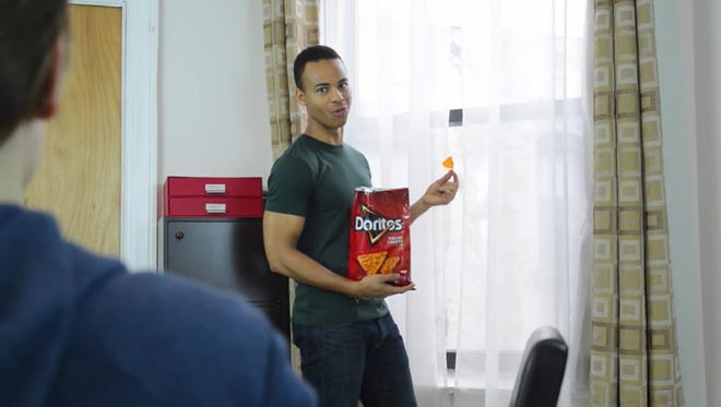 "Mark St. Cyr, of Lafayette, is shown in a scene from the Dorito's Crash the Super Bowl commercial, ""What Could Go Wrong?"""