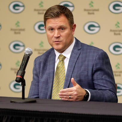 Green Bay Packers general manager Brian Gutekunst speaks