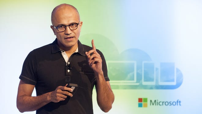 Satya Nadella, CEO of Microsoft, speaks at a media event in San Francisco, California.