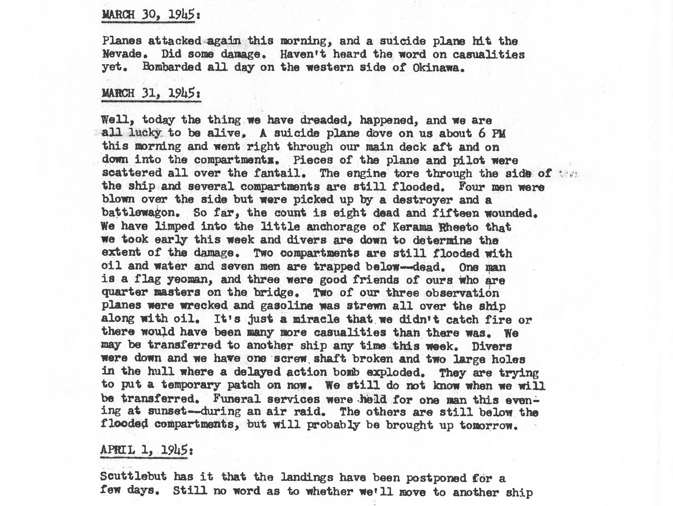 March 31, 1945 log from the Kamikaze attack on the