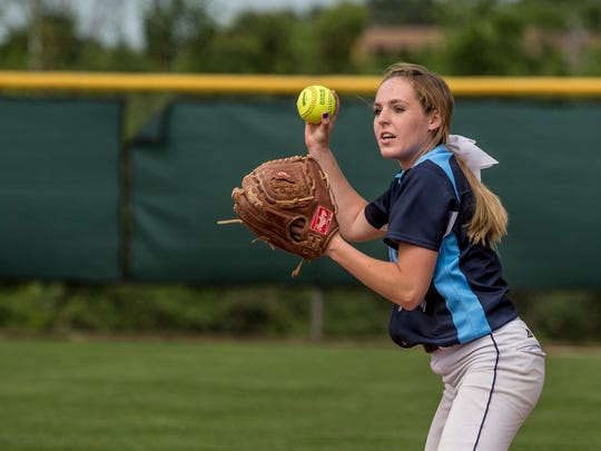 Richmond's Lindsay Schweiger looks to throw the ball
