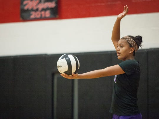 Central's Amaya Smith prepares to serve against Wapahani