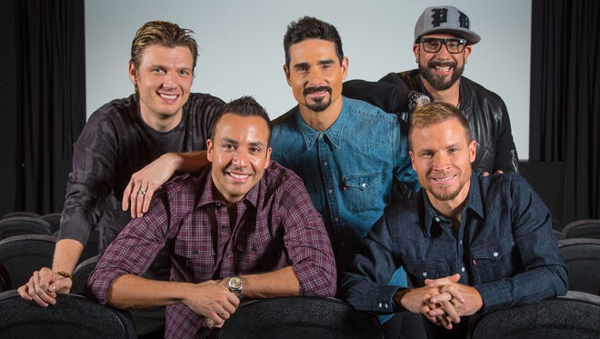 "THE BACKSTREET BOYS: From left, Nick Carter, Howie Dorough, Kevin Richardson, Brian Littrell and A.J. McLean pictured in the Screening Room of the London Hotel in Hollywood while promoting their new documentary ""Show 'Em What You're Made Of."""