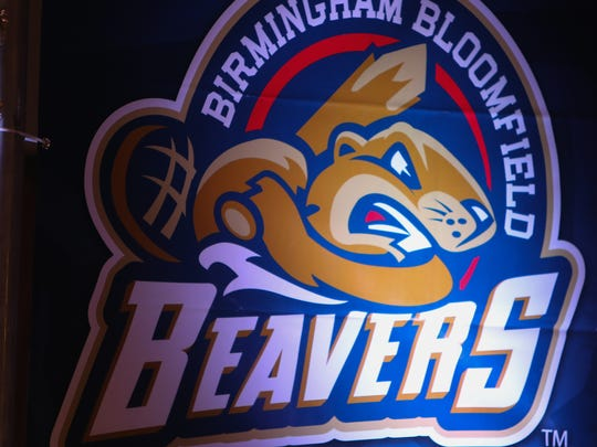 The Birmingham Bloomfield Beavers logo one of the teams that will play in United Shore Professional Baseball League at the new Jimmy Johns baseball field where construction continued Monday, November 23, 2015 at in Utica Michigan.