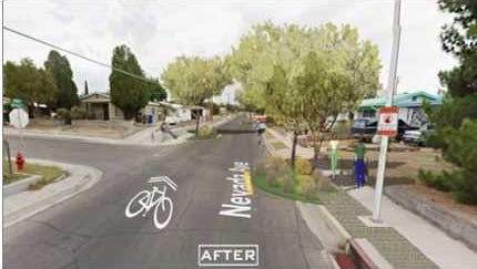 An artist's rendering of what the intersection of Bellamah and Nevada will look like after funding from Partners for Places.