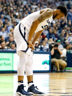 Xavier Musketeers guard Trevon Bluiett (5) pauses after an injury in the first half.