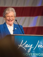 Alabama Gov. Kay Ivey speaks following her win in the