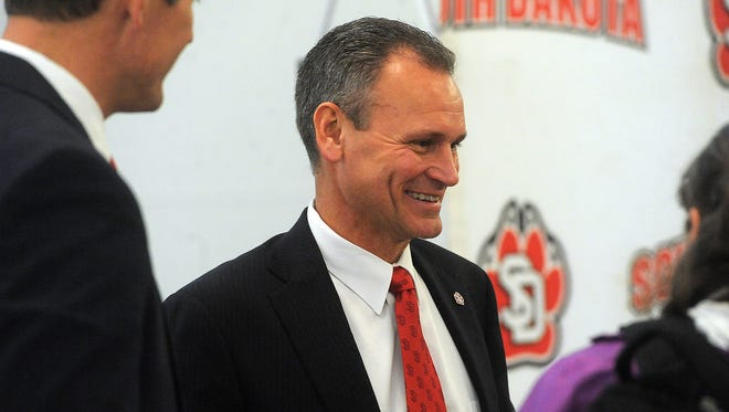 University of South Dakota's new head football coach Bob Nielson answers questions during a news conference at Muenster University Center on Tuesday, Dec. 15, 2015.