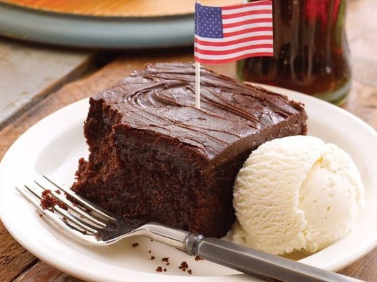 At Cracker Barrel on Veterans Day, veterans can get a free Double Chocolate Fudge Coca-Cola Cake dessert.