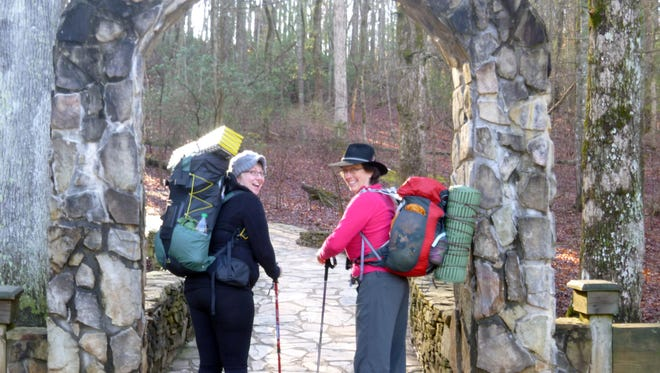 Melissa Ordway (left) and Jean Schrecengost (right) are hiking 700 miles of the Appalachian Trail in partnership with the Jesse Klump Memorial Fund. Courtesy of the Jesse Klump Memorial Fund.