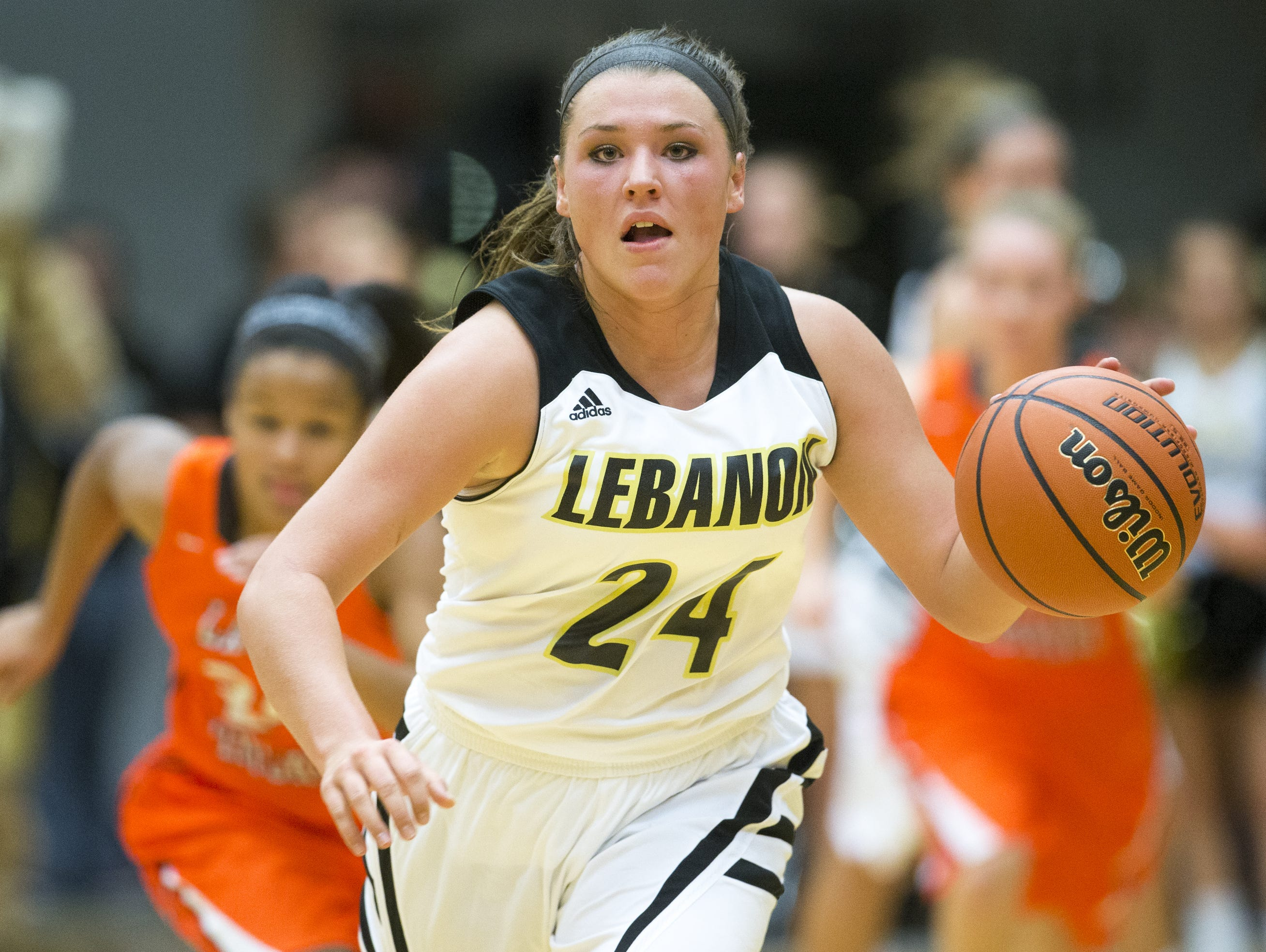 Kristen Spolyar heads upcourt after stealing a ball as she and her Lebanon High School team plays Hamilton Heights, Lebanon, Monday, Nov. 30, 2015. Spolyar, who has scored more than 2,000 points in her high school career, finished with 45 this game.