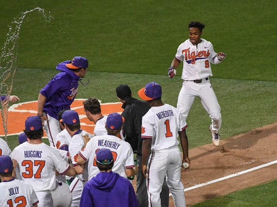 Clemson junior infielder Jordan Greene (9) hit a first-pitch
