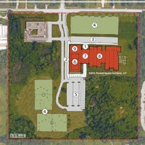 A rough drawing of the plan for a new middle school, where a new building would be built closer to Forest Hill Ave. and the old one would be torn down.