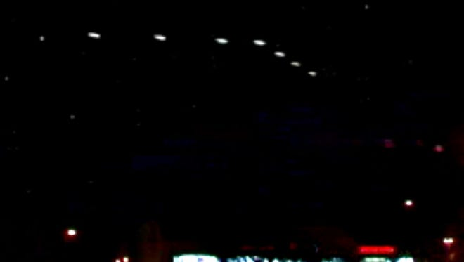 The Phoenix Lights as they appeared to Lynne D. Kitei's video camera on the evening of March 13, 1997.