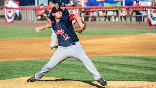 Portland? Sea Dogs pitcher and former Binghamton University standout Mike Augliera pitches during a doubleheader at NYSEG Stadium in July.