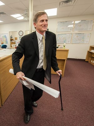 Vance Phillips files papers to run for re-election on the Sussex County Council in Georgetown on April 10, 2014. Attorneys for a young woman who claims in a lawsuit that she was sexually abused by Phillips are asking a judge to find Phillips liable because he has not explicitly denied the allegations.