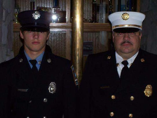 Robert Biesecker, Waynesboro, poses with his son, Nathan