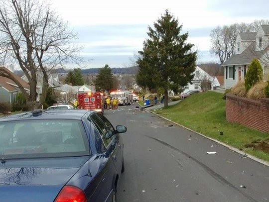 The scene of a fatal crash Monday, April 3, 2017, on