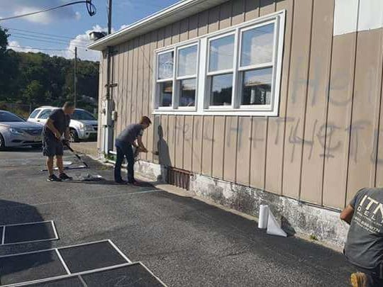 The Airport Diner in Wantage was vandalized Sunday morning.