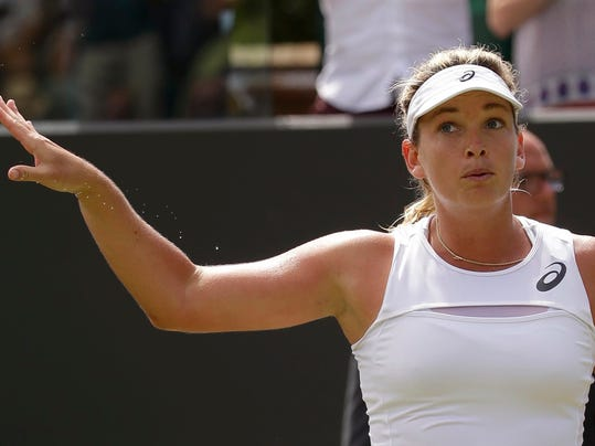 Coco Vandeweghe of the United States reacts after beating Alison Riske of the United States in their Women's Singles Match on day six at the Wimbledon Tennis Championships in London Saturday, July 8, 2017. (AP Photo/Alastair Grant)