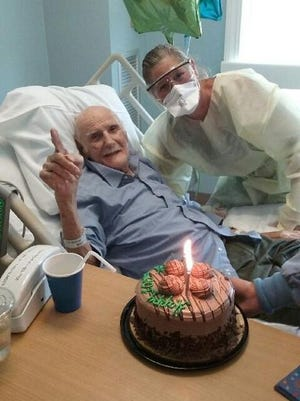 John Gulizia of Quincy turned 100 on Saturday June 20 and is recovering from a broken hip at Lasell House, a Newton rehabilitation center. His daughter Patricia Swanson was able to visit him and wish him a Happy Birthday and Happy Fathers Day.